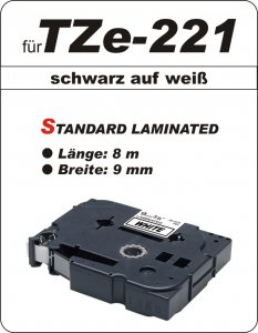 schwarz auf weiß - 100% TZe-221 (9 mm) komp.