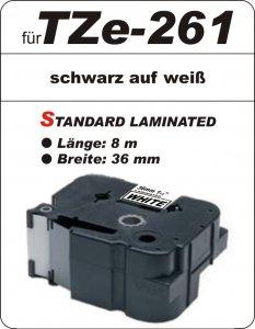 schwarz auf weiß - 100% TZe-261 (36 mm) komp.