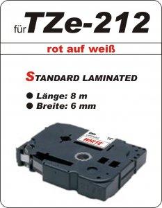 rot auf weiß - 100% TZe-212 (6 mm) komp.