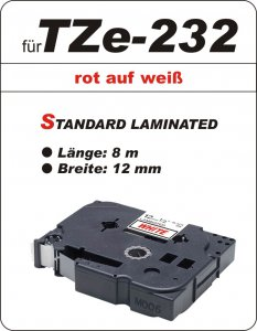 rot auf weiß - 100% TZe-232 (12 mm) komp.