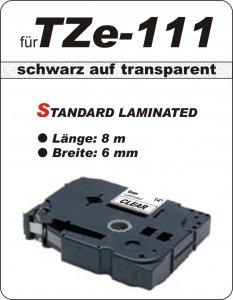 schwarz auf transparent - 100% TZe-111 (6 mm) komp.