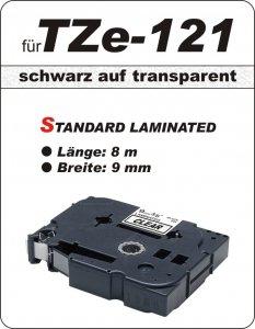 schwarz auf transparent - 100% TZe-121 (9 mm) komp.