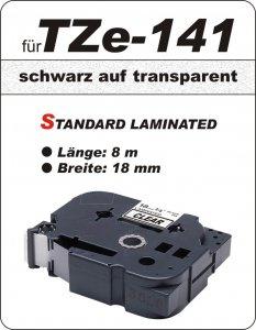 schwarz auf transparent - 100% TZe-141 (18 mm) komp.