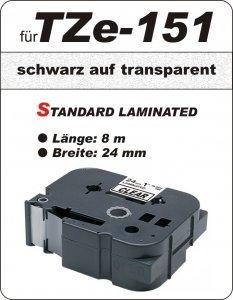 schwarz auf transparent - 100% TZe-151 (24 mm) komp.