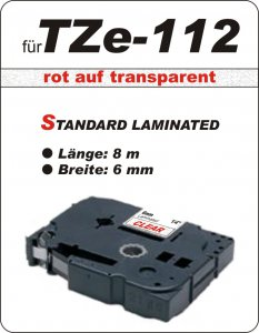 rot auf transparent - 100% TZe-112 (6 mm) komp.