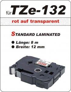 rot auf transparent - 100% TZe-132 (12 mm) komp.