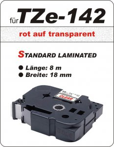 rot auf transparent - 100% TZe-142 (18 mm) komp.