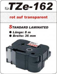 rot auf transparent - 100% TZe-162 (36 mm) komp.