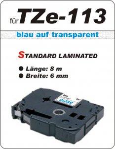 blau auf transparent - 100% TZe-113 (6 mm) komp.