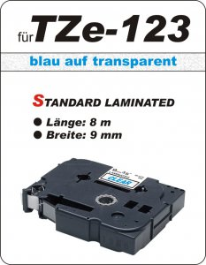 blau auf transparent - 100% TZe-123 (9 mm) komp.