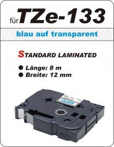 blau auf transparent - 100% TZe-133 (12 mm) komp.