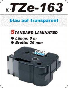 blau auf transparent - 100% TZe-163 (36 mm) komp.