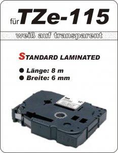weiß auf transparent - 100% TZe-115 (6 mm) komp.