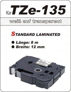 weiß auf transparent - 100% TZe-135 (12 mm) komp.