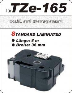 weiß auf transparent - 100% TZe-165 (36 mm) komp.