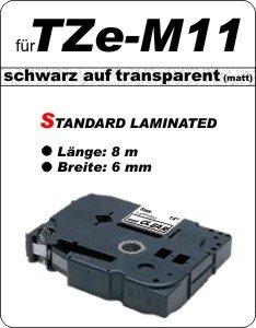 schwarz auf transparent (matt)- 100% TZe-M11 (6 mm) komp.