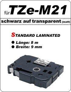 schwarz auf transparent (matt) - 100% TZe-M21 (9 mm) komp.