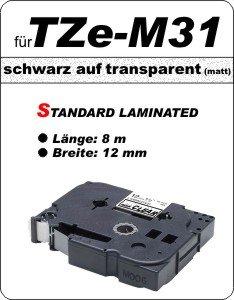 schwarz auf transparent (matt)- 100% TZe-M31 (12 mm) komp.