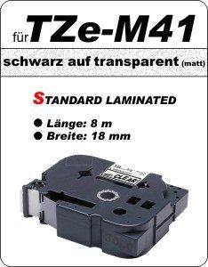 schwarz auf transparent (matt) - 100% TZe-M41 (18 mm) komp.