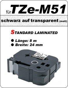 schwarz auf transparent (matt) - 100% TZe-M51 (24 mm) komp.