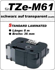schwarz auf transparent (matt) - 100% TZe-M61 (36 mm) komp.
