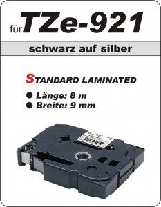schwarz auf silber - 100% TZe-921 (9 mm) komp.