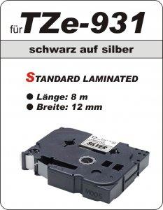 schwarz auf silber - 100% TZe-931 (12 mm) komp.