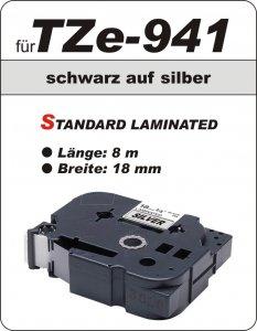 schwarz auf silber - 100% TZe-941 (18 mm) komp.