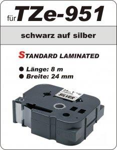 schwarz auf silber - 100% TZe-951 (24 mm) komp.