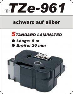 schwarz auf silber - 100% TZe-961 (36 mm) komp.