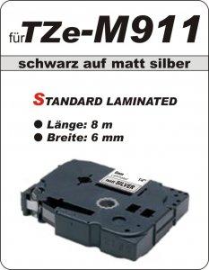 schwarz auf matt silber - 100% TZe-M911 (6 mm) komp.