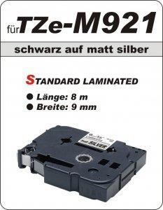 schwarz auf matt silber - 100% TZe-M921 (9 mm) komp.