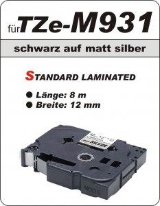schwarz auf matt silber - 100% TZe-M931 (12 mm) komp.