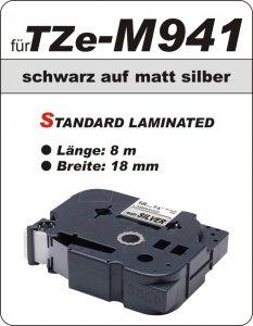schwarz auf matt silber - 100% TZe-M941 (18 mm) komp.