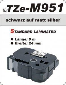schwarz auf matt silber - 100% TZe-M951 (24 mm) komp.