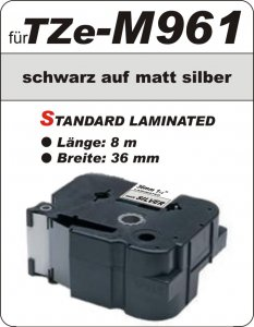 schwarz auf matt silber - 100% TZe-M961 (36 mm) komp.