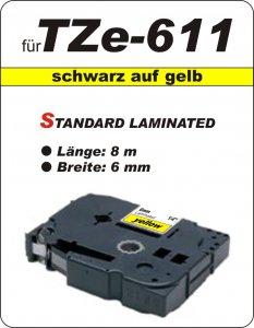schwarz auf gelb - 100% TZe-611 (6 mm) komp.