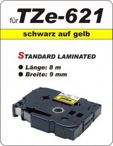 schwarz auf gelb - 100% TZe-621 (9 mm) komp.