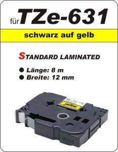 schwarz auf gelb - 100% TZe-631 (12 mm) komp.