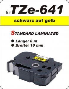 schwarz auf gelb - 100% TZe-641 (18 mm) komp.