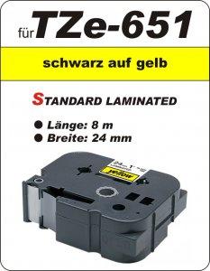 schwarz auf gelb - 100% TZe-651 (24 mm) komp.