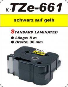 schwarz auf gelb - 100% TZe-661 (36 mm) komp.