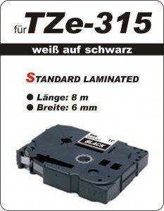 weiß auf schwarz - 100% TZe-315 (6 mm) komp.