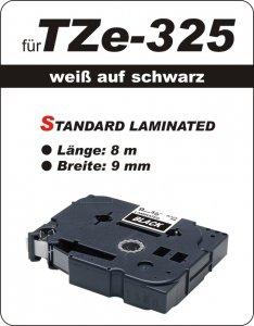 weiß auf schwarz - 100% TZe-325 (9 mm) komp.