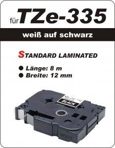 weiß auf schwarz - 100% TZe-335 (12 mm) komp.