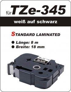 weiß auf schwarz - 100% TZe-345 (18 mm) komp.