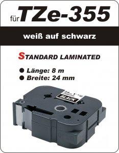 weiß auf schwarz - 100% TZe-355 (24 mm) komp.