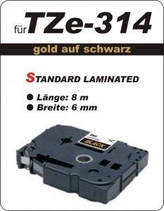 gold auf schwarz - 100% TZe-M314 (6 mm) komp.