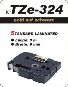 gold auf schwarz - 100% TZe-M324 (9 mm) komp.