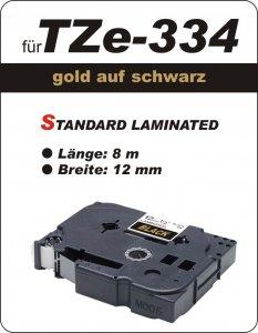 gold auf schwarz - 100% TZe-M334 (12 mm) komp.